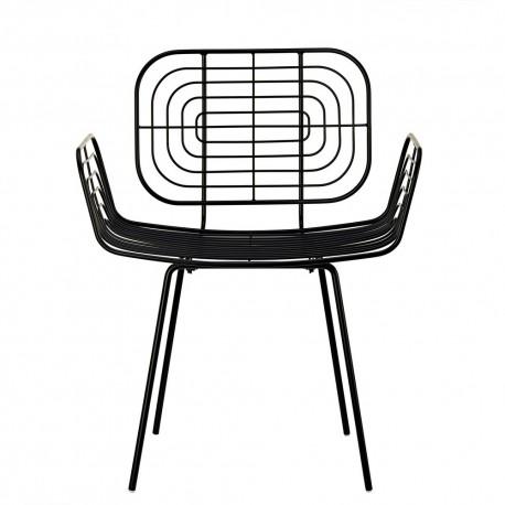 Chaise design avec accoudoirs métal noir Pols Potten Boston