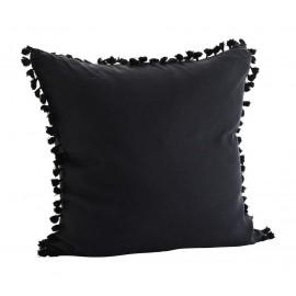 madam stoltz housse de coussin pompons lin noir 60 x 60 cm