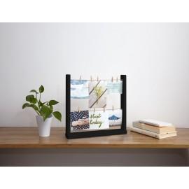 umbra hangit desktop cadre photos corde pinces a linge a poser noir