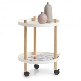 Table d'appoint ronde à roulettes deux niveaux Zeller