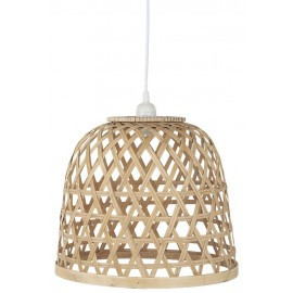ib laursen petite suspension cloche bois bambou naturel tresse 3836-14