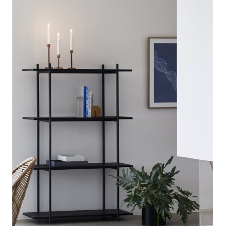 hubsch grande etagere a poser style epure design noire bois metal