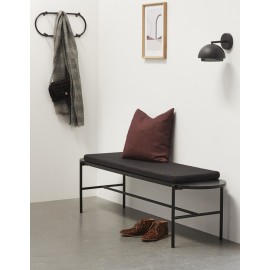 hubsch banc design noir bois et metal coussin 020702