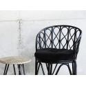 madam stoltz fauteuil bois bambou noir retro vintage 19676BL