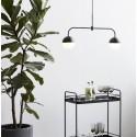 Suspension design barre horizontale métal 2 boules noir blanc Hübsch