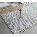 hubsch tapis coton tisse gris blanc 127 x 180 cm