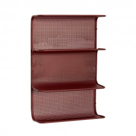 hubsch etagere murale rouge metal grillage design 020906