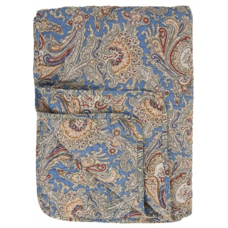 couvre lit matelasse motif paisley ib laursen bleu marron 0715-13