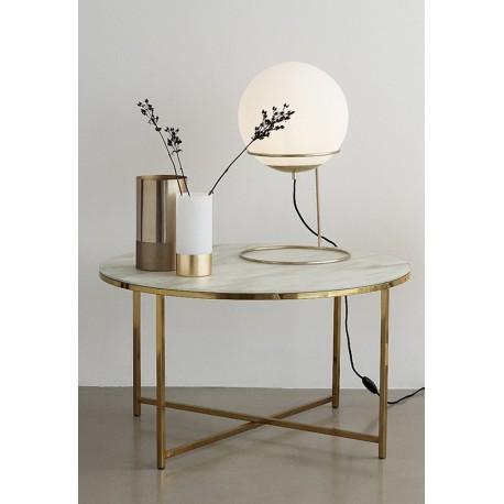 Lampe a poser retro sphere boule blanche laiton dore hubsch