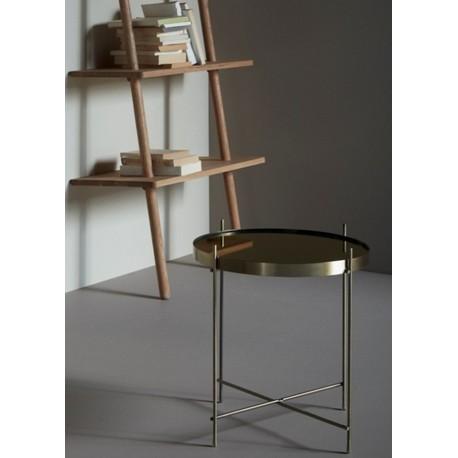 table basse ronde metal dore laiton miroir hubsch 930404