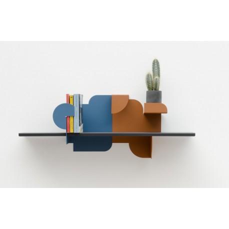Étagère murale design Presse Citron Urba 02 bleu rouille noir