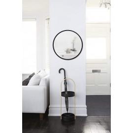 miroir mural rond bord en caoutchouc noir umbra hub 24 1008243-040 d 61 cm