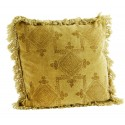 coussin velours imprime franges madam stoltz jaune moutarde 50 x 50 cm