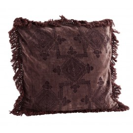 madam stoltz coussin carre velours impression franges prune 50 x 50 cm