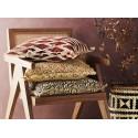 madam stoltz coussin carre coton imprime jaune ocre franges 50 x50 cm