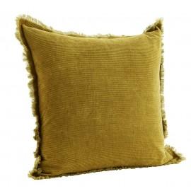 Housse de coussin velours côtelé jaune moutarde franges Madam Stoltz