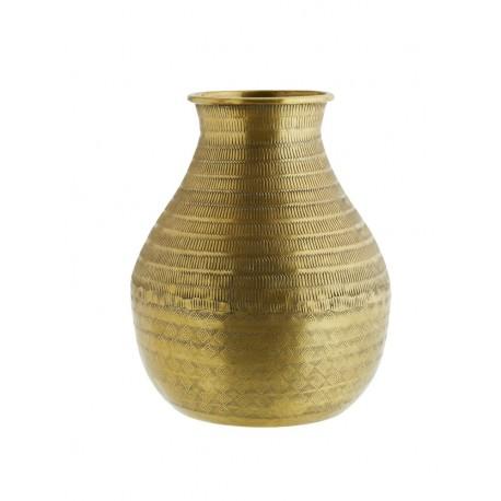 madam stoltz vase en metal aluminium dore grave style ethnique
