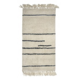 bloomingville tapis descente de lit en laine blanc ecru traits gris 32706857