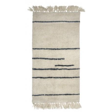 bloomingville tapis descente de lit en laine blanc ecru traits gris 32706857
