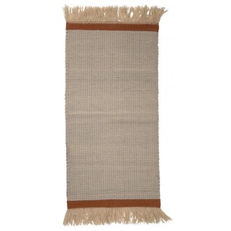 Tapis descente de lit en laine couleur beige franges Bloomingville