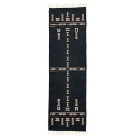 Tapis long coton noir motifs ethniques House Doctor Mila