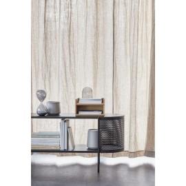 hubsch meuble de rangement ouvert design original metal perfore bois noir