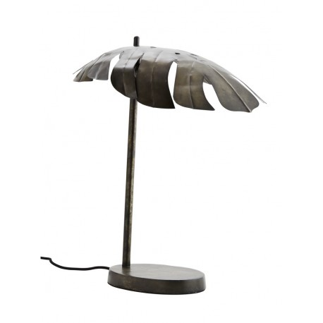 madam stoltz lampe de table en forme de feuille exotique metal oxyde gris