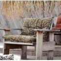 madam stoltz coussin de fauteuil coton imprime motif fleuri vert olive