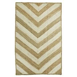 madam stoltz tapis jute bicolore naturel ecru avec motifs JER3152