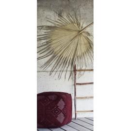 Pouf carré coton brodé tricot motif ethnique Madam Stoltz rouge