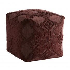 madam stoltz pouf carre coton brode tricot motif ethnique  rouge bordeaux