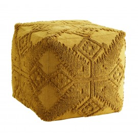 Pouf tissu motifs brodés style bohème Madam Stoltz jaune moutarde