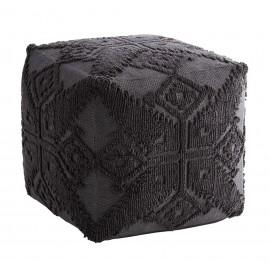 madam stoltz pouf style boheme ethnique coton brode gris fonce