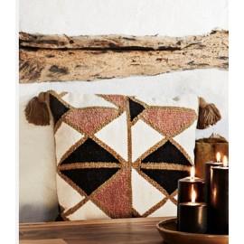 madam stoltz coussin boheme coton tisse motifs geometriques pompons