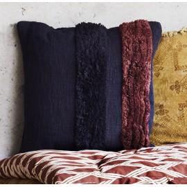 madam stoltz coussin touffete carre coton noir rouge 50 x 50 cm