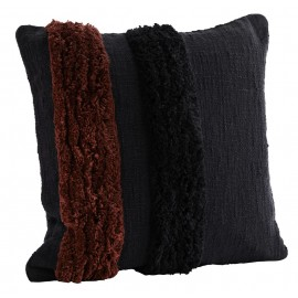 Housse de coussin touffetée carrée coton Madam Stoltz noir rouge