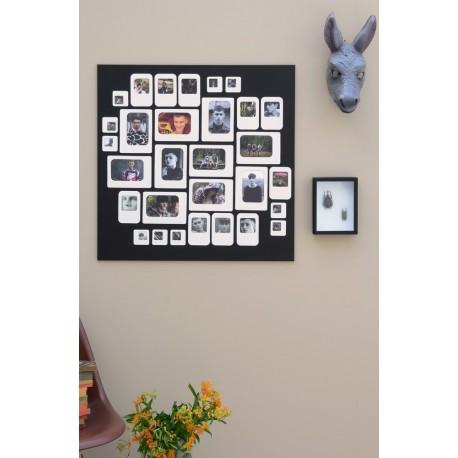 cadre photo mural pele mele carre magnetique noir blanc. Black Bedroom Furniture Sets. Home Design Ideas
