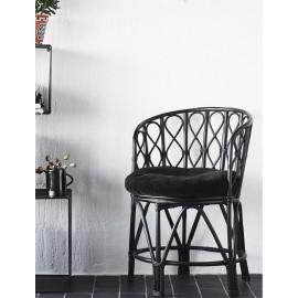 Fauteuil bois bambou noir rétro vintage Madam Stoltz