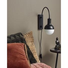 nordal moon applique murale ampoule suspendue style retro metal noir 1598