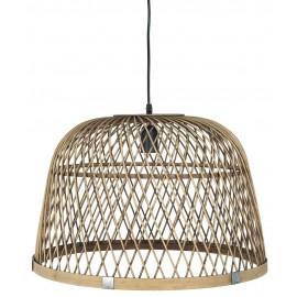 Grande suspension cloche bois de bambou tressé IB Laursen