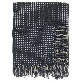 ib laursen plaid bleu fonce coton franges 130 x 160 cm