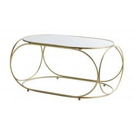 madam stoltz table basse ovale laiton marbre blanc style retro chic L005