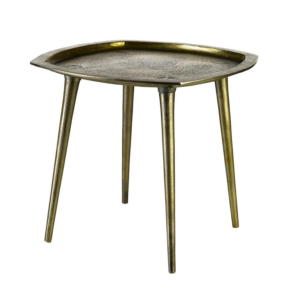 pols potten square table d appoint style vintage laiton vieilli 9-9-9  - Kdesign