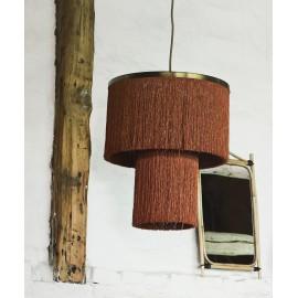 madam stoltz lampe suspension laiton franges orange rouille COT4020-ORG