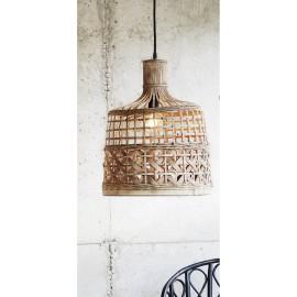madam stoltz lampe suspension bambou naturel tresse style campagne chic