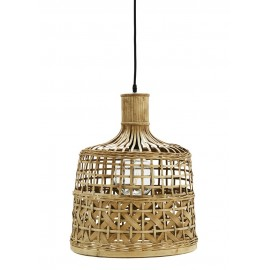 madam stoltz lampe suspension bambou naturel tresse style campagne chic