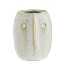Cache-pot cactus vase grès visage Madam Stoltz Face écru