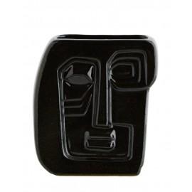 madam stoltz vase rectangulaire noir sculpte forme visage HY15710-20