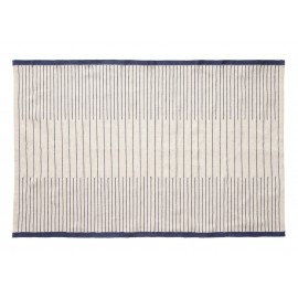 hubsch tapis design coton blanc bleu 700902