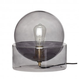 Lampe de table boule en verre fumé socle verre Hübsch